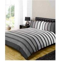 Soho Black Stripe Duvet Cover Quilt Bedding Set, Black White Grey, Single