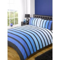 Soho Blue Stripe Duvet Cover Bedding Set, Blue, Single Size