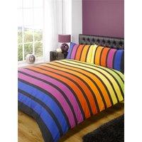 Soho Multi Stripe Duvet Cover Bedding Set Blue Purple Orange Yellow Green Single Size