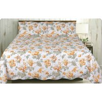 Soiree Quilted Floral Double Bedspread Throw Throwover Bedding and 2 x Pillowsham Set