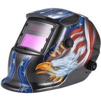 Solar Auto Darkening Welding Helmet Welders Mask Arc Tig Mig Grinding Eagle Black - ASUPERMALL