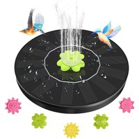 Solar bird bath fountain, upgraded version 1.4W solar fountain pump, floating solar bird feeder fountain, small solar water pump with 5 nozzles, used