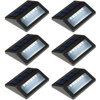 Solar Deck Lights Outdoor 6 Pack, Waterproof LED Solar Step Lights for Stair Railing Patio Fence Wall Walkways, Daylight White
