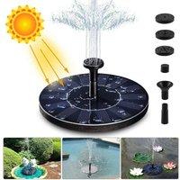 Solar Fountain Pump, 1.4W 150L / h Solar Water Pump (70CM Maximum) + 6 Nozzles, Mini Solar Pump for Decorative Garden Pond Fountains (No Battery and