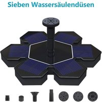 Solar fountain with battery-powered solar pump and 4 gardens, mini ponds, garden fountain model nozzles
