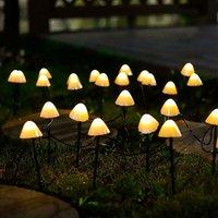 Solar garden light, 5M 20 LED mushroom fairy light pole outdoor channel lighting decoration lawn, terrace, festoon, summer party SOEKAVIA