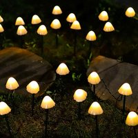 Solar garden light, 6.5 m 30 LED mushroom fairy tale light pole, outdoor channel lighting, decorative lawn, terrace, festoon, summer party SOEKAVIA