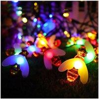 Solar Garden Lights, Honey Bee Fairy String Lights?7M/24Ft 8 Mode Waterproof Outdoor/Indoor Garden Lighting for Flower Fence, Lawn, Patio, Festoon,