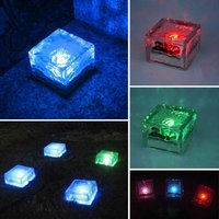 Solar Glass Brick Lights Outdoor Waterproof Ice Cube Night Lamp for Garden Lawn Decorative Light, Colorful