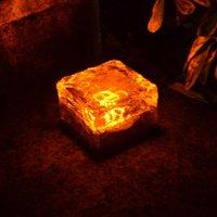 Solar Glass Brick Lights Outdoor Waterproof Ice Cube Night Lamp for Garden Lawn Decorative Light, Orange