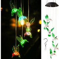 Briday - Solar Hummingbird Wind Chime Color Changing Solar LED String Lights Outdoor Mobile Hanging Patio Light