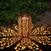 Solar Lantern Garden Outdoor Decoration Waterproof Solar Patio Light Fixture Decorative Metal Patio Lamp for Lawn Patio Party Decorations (B)