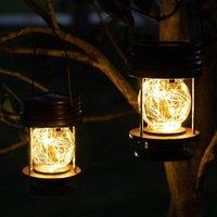 Solar Lantern Outdoor, 2 Pack Waterproof Hanging Table Solar Garden Patio Lantern Lamp with 20 LED Fairy Lights, Outdoor Yard Decor Lanterns Warm