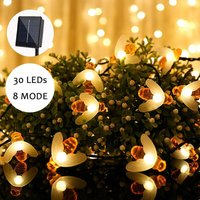 Solar LED String Lights for Outdoor - 30 Warm White Lights - Waterproof Outdoor String Lights - Decoration for Garden, Patio, Lawn, Party, Wedding,