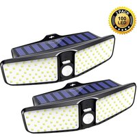 Solar Lights Outdoor, [2 Pack] 100 LEDs Solar Motion Sensor Light Outdoor with 210° Wide Angle, IP65 Waterproof Deck Lights, Security Night Wall