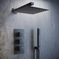 Solar Matt Black Concealed Shower Mixer Pack - Square 2 Way Triple Set