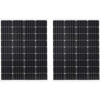 2x Solar Panels 100W Monocrystalline Aluminium and Safety Glass - Vidaxl