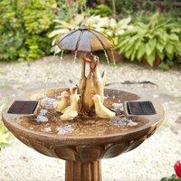 Solar Duck Family Umbrella Garden Water Feature Fountain Bird Bath - Smart Garden