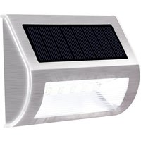 Solar Step Lights Outdoor 5 LEDs Waterproof Solar Stair Light Mini Stainless Steel Solar Powered Deck Lights LED Wall Lights Auto On/ Off for Stairs