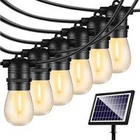 Solar String Lights Outdoor - Shatterproof Vintage Edison Bulbs and 4 Light Mode Weatherproof 27FT Strand -LED String Lights Solar Patio Lights for