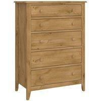 Solid Pine Wide 5 Drawer Chest Bedroom Wooden Furniture Large Storage Unit
