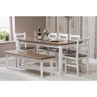 Solid Pine Wood Dining Set Extra Large Table with 5 Chairs and One Bench Dining Home Furniture - ROOMEE