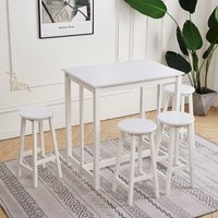 Compact Breakfast Bar Dining Table and 4 Stools Wood Furniture Set Home Kitchen, White