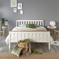 Atlantic Bed Frame in White with Natural Tops, size Small Double