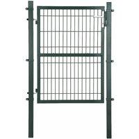 Portail de Jardin en Acier galvanisé Robuste et Durable avec Serrure et clé Vert 125 x 106 cm GGD175L - Vert