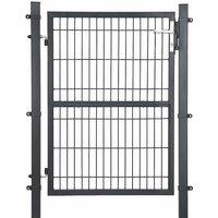 Portillon en fer galvanisé, Portail de clôture, Porte de jardin, robuste et durable, avec serrure, poignée et clé de qualité, 106 x 125 cm (L x H),