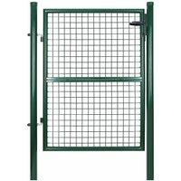 Portillon de jardin 125 x 106 cm avec serrure maille métallique Vert GGD175G - Verde