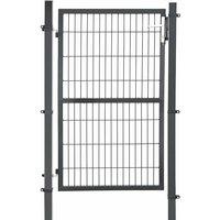 Portillon en fer galvanisé, Portail de clôture, Porte de jardin, robuste et durable, avec serrure, poignée et clé de qualité, 106 x 150 cm (L x H),