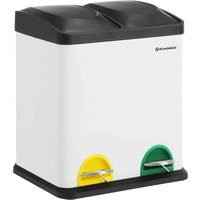 Recycle Bin, 30-Litre Waste Separation System, 2 x 15L Rubbish Bin, with Inner Buckets, Colour-Coded Pedals, for Kitchen, Living Room, White and