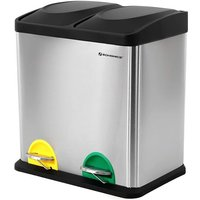 Recycle Bin, 30-Litre Waste Separation System, 2 x 15L Rubbish Bin, with Inner Buckets, Colour-Coded Pedals, for Kitchen, Living Room, Silver and
