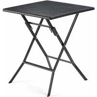 Table Pliante, petiteTable de Jardin avec Surface en Plastique Effet Grain de Bois, Imperméable, Pieds Robustes en Fer en Forme de Sabot, Loquet