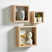 Sonoma Oak Set of 3 Floating Cube Shelves Wall Mounted Home Decor Display Units