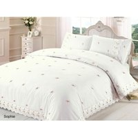 Sophie Duvet Quilt Cover Floral Lace Trim Embroidered Bed Set, Polyester-Cotton, Cream, Single
