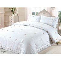 Sophie Duvet Quilt Cover Floral Lace Trim Embroidered Bed Set, Polyester-Cotton, White, Single