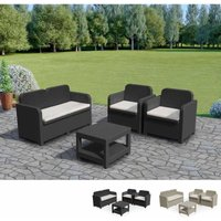 SORRENTO Garden Lounge Set Outdoor Rattan with Table by Grand Soleil | Black