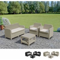 SORRENTO Garden Lounge Set Outdoor Rattan with Table by Cream - Grand Soleil
