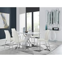 Sorrento White High Gloss And Stainless Steel Dining Table And 6 White Isco Dining Chairs