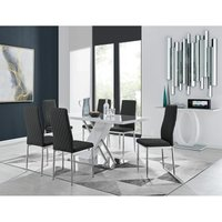 Sorrento White High Gloss And Stainless Steel Dining Table And 6 Black Milan Dining Chairs