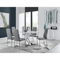 Furniturebox Uk - Sorrento White High Gloss And Stainless Steel Dining Table And 6 Elephant Grey Milan Dining Chairs