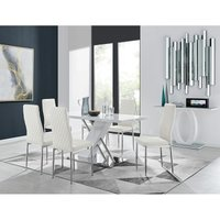Furniturebox Uk - Sorrento White High Gloss And Stainless Steel Dining Table And 6 White Milan Dining Chairs