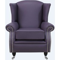Designer Sofas 4 U - Southwold Wing Chair Fireside High Back Leather Armchair Amethyst Purple Leather