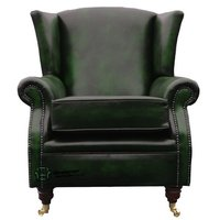 Designer Sofas 4 U - Southwold Wing Chair Fireside High Back Leather Armchair Antique Green Leather