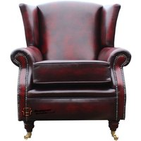 Designer Sofas 4 U - Southwold Wing Chair Fireside High Back Leather Armchair Antique Oxblood Leather