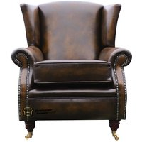 Southwold Wing Chair Fireside High Back Leather Armchair Antique Tan Leather