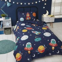 Space And Aliens Duvet Cover Set Glow In The Dark Double
