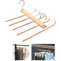 Spacious trouser hanger, 5 in 1, trouser hanger, stainless steel hangers, extensible, multi-hanger foldable, magic organizer, wooden hangers